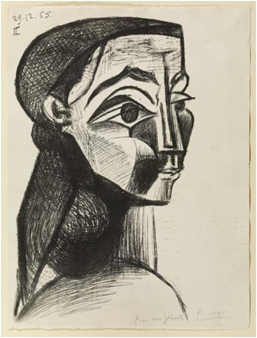 Portrait of a woman II. Picasso, 1955, print