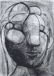 Head of Marie-Thèrése. Picasso, 1933, drypoint