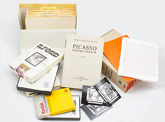 Sample of the diferent documental materials from the Brigitte Baer Holdings. Museu Picasso, Barcelona. Gift of David Leclerc, 2015