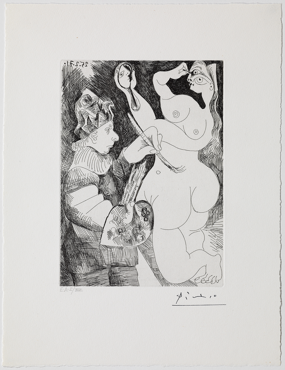 Pablo Picasso. Painter-jester painting on his model, who is making up her eyes