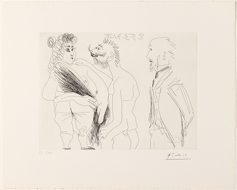 Pablo Picasso. Scene of seduction between a debaucher and a prostitute, with Degas as a voyeur